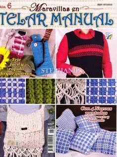 Revistas de Manualidades Para Descargar: Maravillas en Telar Manual Nº 6 Shibori, Weaving Techniques, Tapestry, Weave, Check, Throw Pillows, Embroidery Patterns, Fabrics, Chrochet