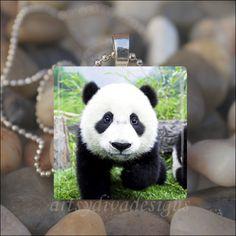 BABY PANDA BEAR Cute Animal Bear Glass Tile Pendant Necklace Keychain. $9.99, via Etsy.