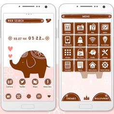 """Lovely Elephant"" 10/30 A beautifully decorated elephant features in this adorable theme! http://app.android.atm-plushome.com/app.php/app/themeDetail?material_id=1360&rf=pinterest #cute #wallpaper #love #kawaii #design #icon #girl #plushome  #homescreen #widget #deco #elephant"