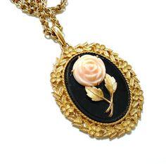 Vintage Serena Rose Mirror Pendant Necklace - Avon 1973 - by LisamariesPiece