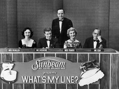 The game tasks celebrity panelists with questioning contestants in order to determine their occupations. It is the longest-running U.S. primetime network television game-show (51st show). Moderated by John Charles Daly and with panelists Dorothy Kilgallen, Arlene Francis, and Bennett Cerf