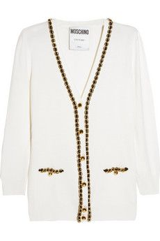 Moschino Chain-embellished wool cardigan | NET-A-PORTER