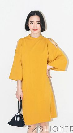 Fashiontroy Smart elegant 3/4 sleeves grey black yellow shoulder cutout turtleneck cotton blend mini dress