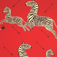 Zebras wallpaper by Scalamandré (premiered at Gino's restaurant in NYC; Flora and Franco also did rooms in White House) [not crazy about the hunting theme, but at least the zebras are dodging those arrows!]
