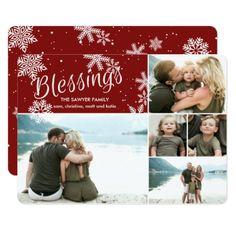 Blessings | Christmas Flat Card - christmas cards merry xmas family party holidays cyo diy greeting card