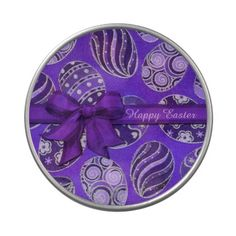 Shop Decorative Purple Ribbon Easter Eggs Tin created by BlueRose_Design. Purple Ribbon, Jelly Belly, Easter Cookies, Chocolate Box, Vinyl Lettering, Party Printables, Easter Eggs, Tin, I Shop