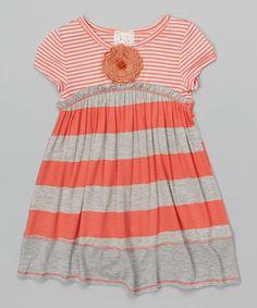Coral & Heather Gray Stripe Embellished Dress - Toddler & Girls