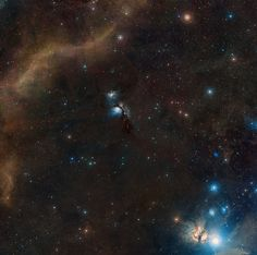 This image shows the Herbig-Haro object 24 and the surrounding sky as it is seen from telescopes on the ground. <br />