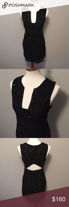 Free People sexy black sequin dress Perfect LBD!!!  Bodycon dress with sexy neckline and back detail.  Unique and fun dress!! Free People Dresses Mini