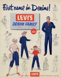 Retro Vintage Jeans (The Vintage Dancer) Vintage Jeans, Vintage Outfits, Vintage Fashion, 1950s Fashion, Chambray, Pin Up, Plakat Design, Streetwear, Old Advertisements