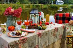 Aiken House & Gardens ~ Autumn tablescape by the pond