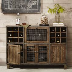 With plenty of space to store your wine and other dinnerware, this country style cabinet also looks great in urban and industrial spots. Complete with wire grate windows to add to the aesthetics.