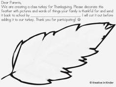 Kindergarten Class Turkey Project FREEBIE! - Kreative in Life