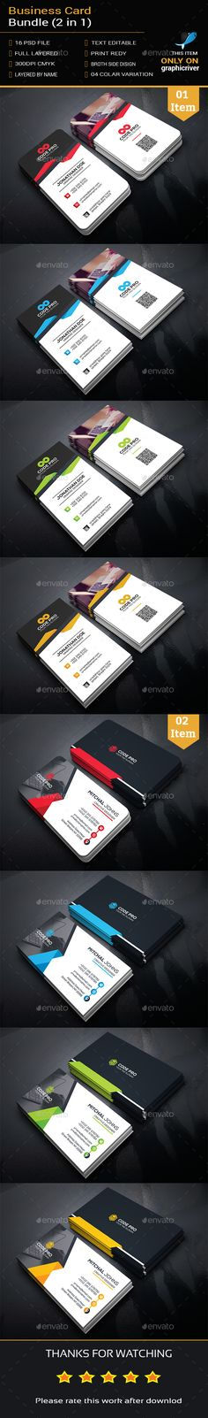 Business Card Bundle (2 in 1) Template PSD