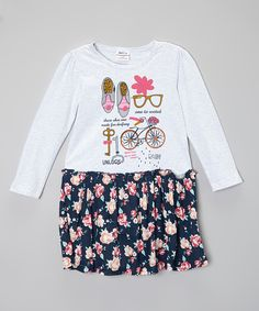 Rainbow Hearts Boutique White Bicycle Top & Blue Floral Skirt - Infant, Toddler & Girls | zulily