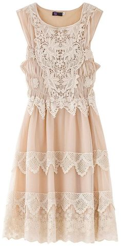 apricot + lace dress - so pretty