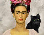 FRIDA KAHLO con el gato Negro.  Hoja de collage para imprimir.  descarga digital imagen gráfica .078