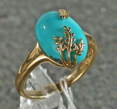 14k Yellow Gold Genuine Chinese Turquoise 14 X10 MM Cabochon Leaf Design Ring #unbranded #Cabochon