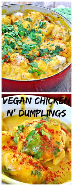 This is delicious and hearty. Great for a cold winter day. Reheats well too. Vegan Chicken and Dumplings