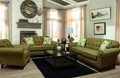 England Furniture 5734, 5735, 5736 with Caprice Bronze and Mariposa Parchment fabrics