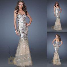 Champagner Mermaid Partykleid Abendkleid Brautkleid AbschlussballKleid Gr:34-44[Champagner,36]