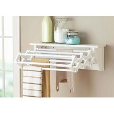 Better Homes And Gardens Wall-Mounted Drying Rack, White in Home & Garden, Household Supplies & Cleaning, Laundry Supplies Drying Rack Laundry, Clothes Drying Racks, Clothes Dryer, Laundry Room Organization, Laundry Room Design, Laundry Rooms, Laundry Closet, Storage Organization, Small Laundry