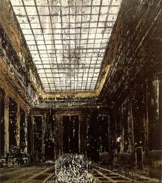 Painting by Anselm Kiefer in oil, shellac and emulsion. 113 by 122 inches. This is the Reich Chancellory before it was bombed.