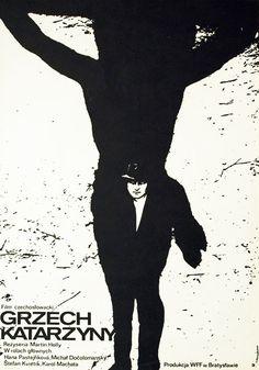 """Plakat do filmu czechosłowackiego z 1973 r. """"Grzech Katarzyny"""", w reżyserii Martina Holly. Projekt plakatu Jacek Neugebauer, 1973."""