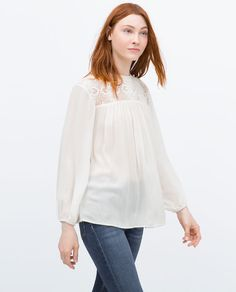 ZARA - COLLECTION AW15 - GUIPURE LACE COMBINED SHIRT