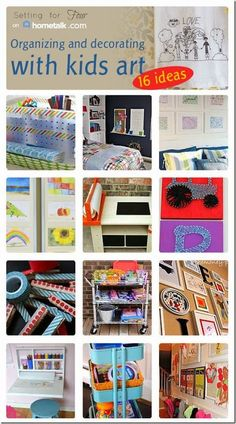 Fun new Ways to Display Kids Art and Organize Kids Art Supplies! Encourage those little Picasso Artists with these DIY ideas!