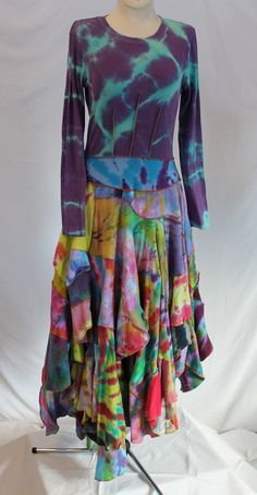 @: Recycled Tie-Dyed T-Shirts Upcycled into Bohemian-Styled Old Navy Brand XXL Women's Shirt Cotton Dress