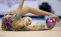 Russia's Yana Kudryavtseva performs with the ball in the individual qualifications at the World Rhythmic Gymnastics Championships in Stuttgart, southwestern Germany, on September 7, 2015.
