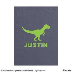 T rex dinosaur personalized fleece blanket for kid. Personalize it with your name. Gifts for boys and girls.