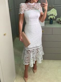 Women fashion is my life! Spring Dresses, Day Dresses, Dress Outfits, Fashion Dresses, Work Outfits, Formal Dresses, Corporate Fashion Office Chic, Lace Dress, White Dress