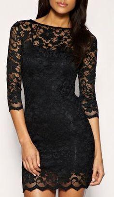 Women's Lace Mini Black Dress