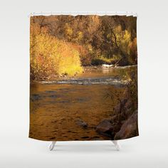 art shower curtain rustic fall photography home decor photograph nature photo river landscape mustard yellow gold