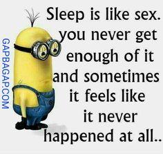 Funny Minion Meme About Sleep vs. Sex