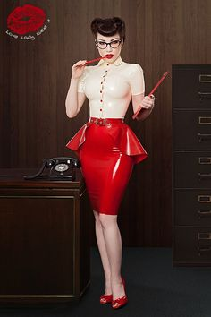 ladylucielatex: Morgana wearing the new Lady Lucie Latex peplum belt and button up blouse. Smoking hot! All items are available in our Etsy shop.