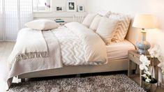 Linge de lit 200x200 à chevrons beiges et blancs