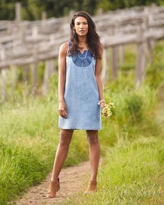 Summer outfit idea: Try a chambray dress with ankle boots for an easy way to incorporate the boho trend into your wardrobe. Love this effortless look? Sign up for Stitch Fix to receive personalized pieces & style tips for your lifestyle!