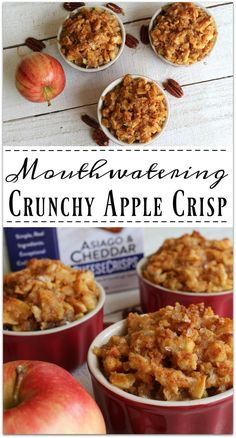 You are going to love this Crunchy Apple Crisp! When you're eating cooked apples, you have to have some crunch to go with the softness of the fruit, right? So yummy! Thanks to John Wm Macy's CheeseSticks for sponsoring the ad Apple Recipes, Fall Recipes, Gourmet Recipes, Dessert Recipes, Cooking Recipes, My Favorite Food, Favorite Recipes, Cooked Apples, Most Delicious Recipe