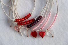 Valentine's Day bead and hemp bracelet