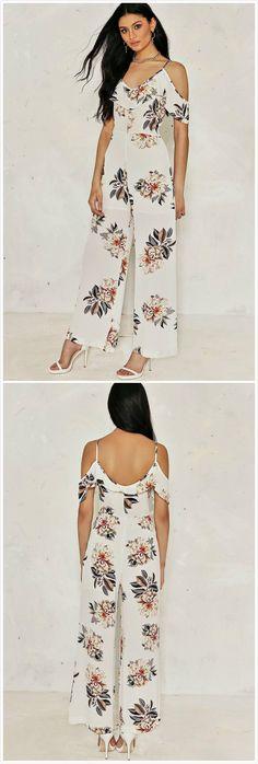 15edad10c16 off Shoulder Floral Printed Ruffle Wide-Leg Jumpsuit - AZBRO.com