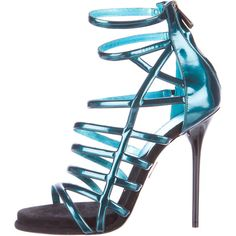 Pre-owned Paul Andrew Patent Cage Sandals (325 CAD) ❤ liked on Polyvore featuring shoes, sandals, green, green stilettos, patent leather shoes, zip shoes, cage sandals and stiletto sandals