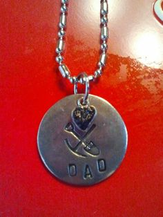 West Virginia Coal Jewelry Hand Stamped Pick & Shovel - DAD with Real Coal Heart Charm Necklace www.wvcoaljewelry.com