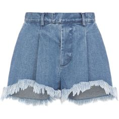 Ksenia Schnaider Fringe Denim Shorts ($275) ❤ liked on Polyvore featuring shorts, blue, high-waisted shorts, ripped jean shorts, distressed jean shorts, blue high waisted shorts and high-waisted jean shorts