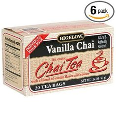 "Bigelow Vanilla Chai Tea is my ""dessert"" of choice on P2"
