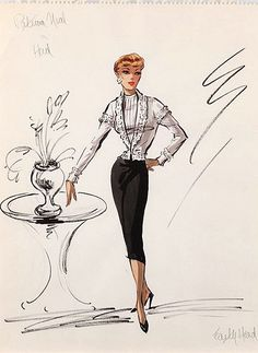 Edith Head sketch for Patricia Neal in Hud (1963)