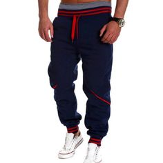 Fashion Lace-Up Color Block Rib Splicing Loose Fit Beam Feet Men's Polyester Sweatpants