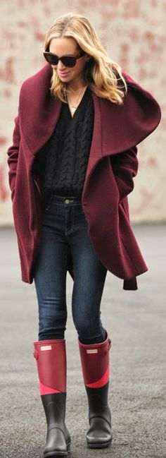 HUNTER - Burgundy Wool Blend Belted Wrap Coat with Hunter Boots / Brooklyn Blonde